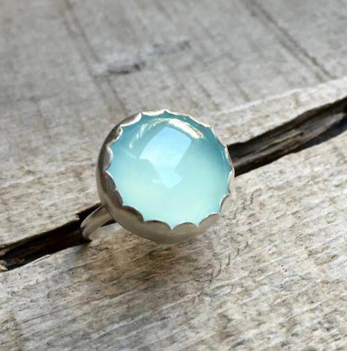 Romantic Elegant Aqua Blue Chalcedony Scallop Bezel Sterling Silver Ring | Blue or Pink Chalcedony Minimalist Setting Silver Ring | Boho