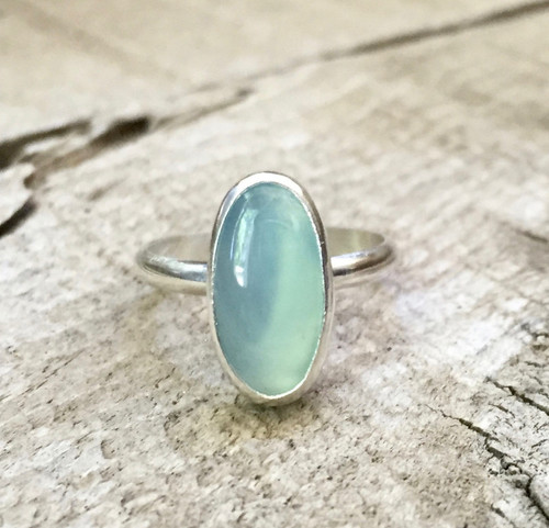 Minimalist Elegant Light Blue Oval Chalcedony Ring in Sterling Silver | Chalcedony Ring | Gifts for Her | Astrological Ring | Boho