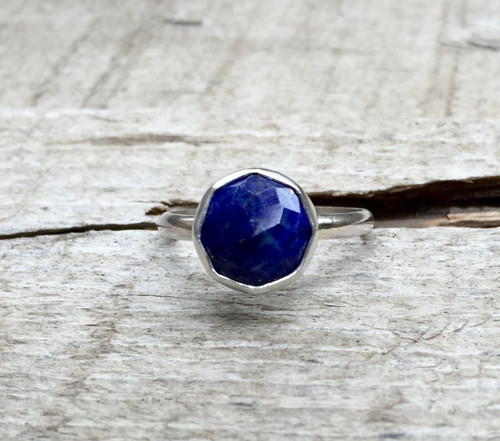Elegant Modern Cube Cut Geometric Cobalt Blue Lapis Octagon Sterling Silver or Oxidized Sterling Silver Ring