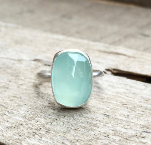 Elegant Rectangle Cushion Cut Aqua Blue Chalcedony Boho Ring Sterling Silver Statement Ring | Faceted Chalcedony Ring | Boho | Rocker | Edgy