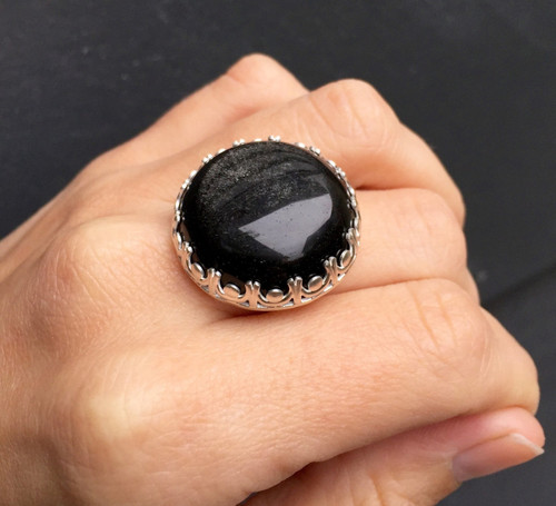 Elegant Romantic Chunky Golden Sheen Obsidian Statement Ring in Crown Bezel
