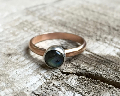 Elegant Romantic Flashy Labradorite Sterling Silver and Rose Gold Filled Ring