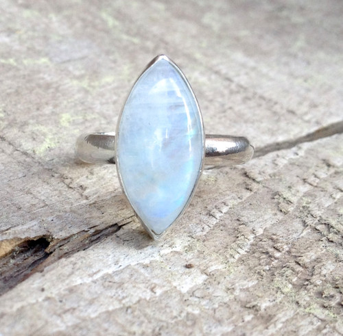 Elegant Romantic Marquise Rainbow Moonstone in Sterling Silver | Moonstone Ring | Eyelet Silver Ring | June Birthstone Ring