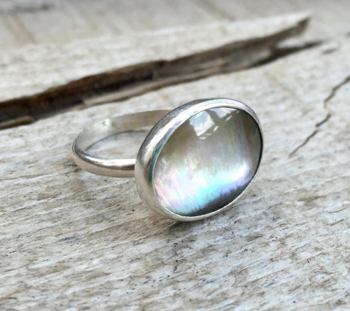 Luminescent Black, Purple, and Pink Mother of Pearl Oval Ring set in Sterling Silver