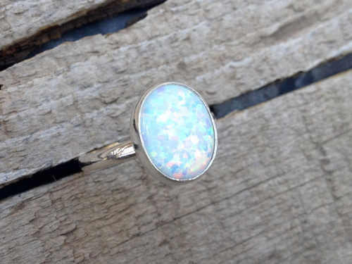 Large Oval Simulated Opal Elegant Birthstone Ring in Sterling Silver | Opal Ring | Silver Ring | Boho | Rocker | Birthstone Ring