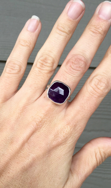 Large Regal Faceted Cushion Cut Amethyst Geometric Sterling Silver Statement Ring
