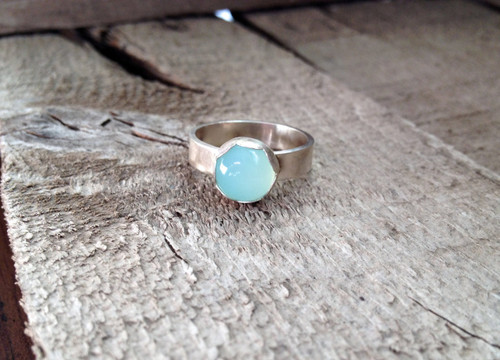 Flower Aqua Chalcedony Round Solitaire Ring in Sterling Silver Scallop Bezel