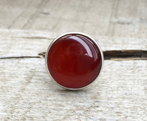 Elegant Stunning Round Blood Red Orange Carnelian Sterling Silver Ring | July Birthstone Ring | Carnelian Ring | Boho | Rocker