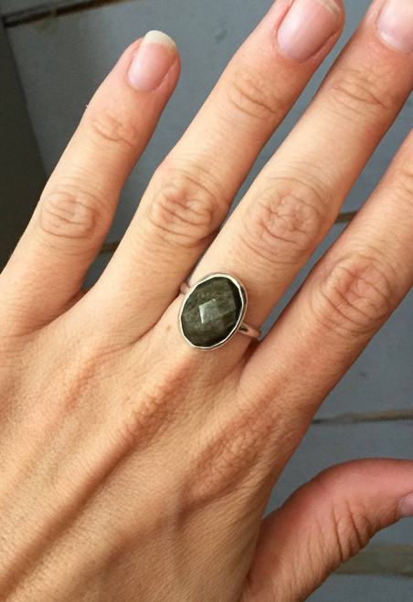 Faceted Edgy Golden Sheen Obsidian Sterling Silver Statement Ring | Golden Obsidian Ring | Sheen Obsidian Ring | Boho | Rocker | Edgy