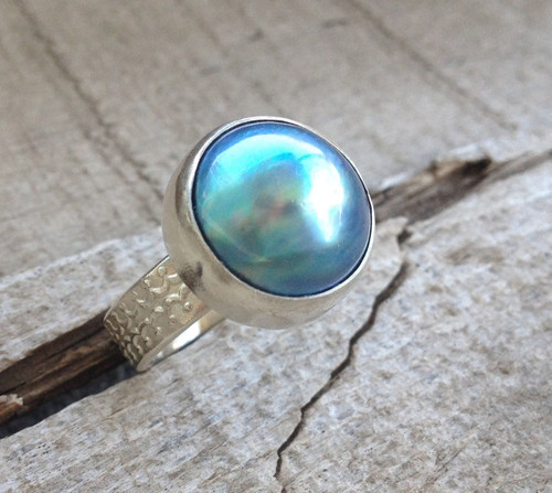 Large Elegant Blue Pink White or Gray Mabe Pearl in Sterling Silver with Sterling Silver Decorative Ring Band