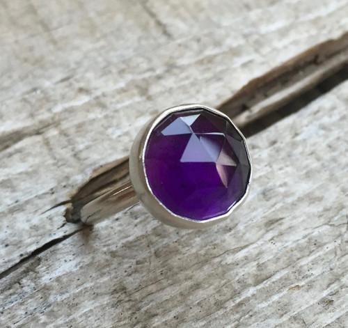 Elegant Round Faceted Purple Amethyst Birthstone Sterling Silver Boho Spiritual Ring   Silver Purple Gemstone Ring   Faceted Amethyst Ring