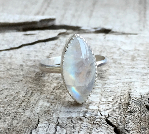 Elegant Romantic Marquise Rainbow Moonstone Serrated Bezel Sterling Silver Ring