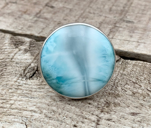 Rare Stunning Large Round Sky Blue Larimar Sterling Silver Ring