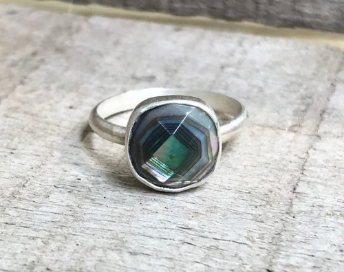 Elegant Luminescent Cushion Cut Square Faceted Dark Mother of Pearl Sterling Silver Ring