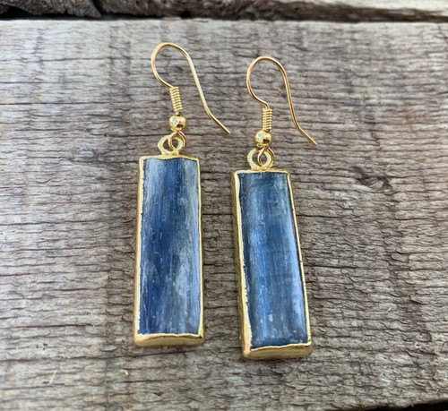Large Rectangle Pearly Blue Kyanite Gold Plated Dangle Earrings