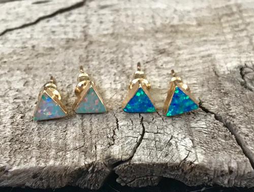 Triangle Opal Gold Earrings | Gold Opal Stud Earrings