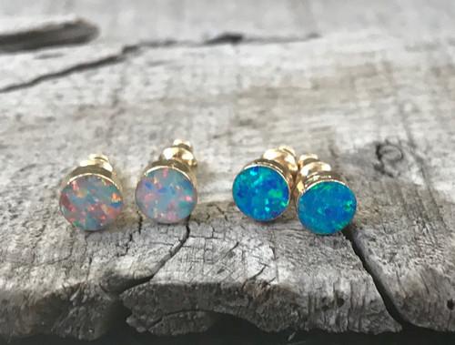 Round Opal Gold Earrings | Gold Opal Stud Earrings