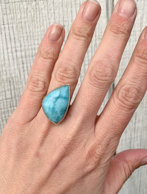 Sea and Sky Free Form Larimar Sterling Silver Ring