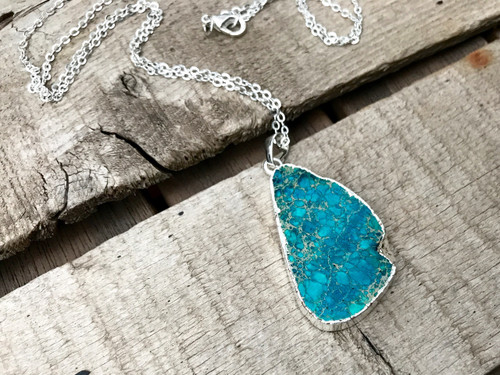Bright Blue Ocean Jasper Free Form Geometric Silver Pendant Necklace