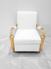 Gaston Baroque Arm Chair in White Leather and Gold Frame