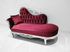 Baroque Chaise Sofa in Purple Velvet and Silver Carved Wood