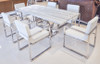 """Uscio IV Marble Dining Table 79"""" - White Lines"""