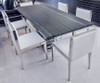 "Uscio IV Marble Dining Table 79"" - Grey Lines"