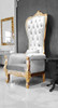 Baroque Throne Chair Queen Chair White Velvet and Gold Frame