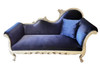 Josephine chaise lounge in Blue Velvet and Silver Frame