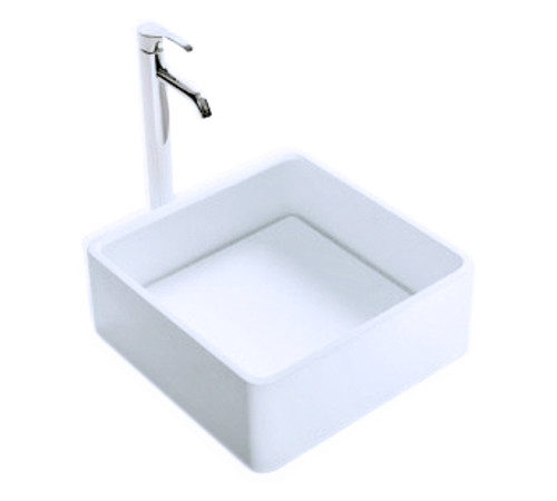 """Cloud II Vessel Sink Solid Surface with Designer Drain Cover - 15.7"""""""