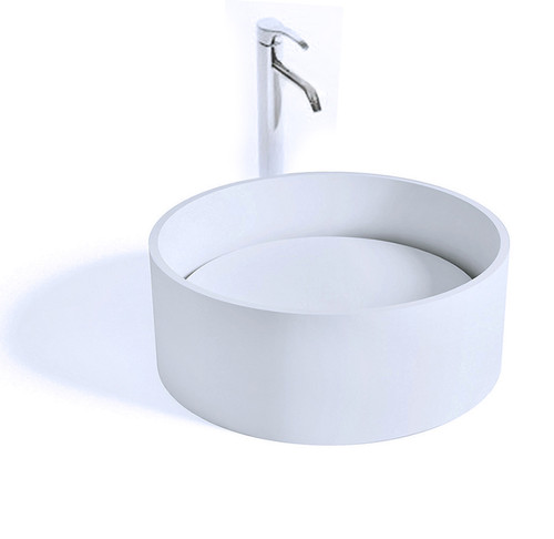 """Enna II Vessel Sink Solid Surface with Designer Drain Cover 15.8"""""""