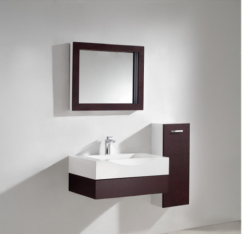 """Aura Modern Bathroom Vanity Set with Side Cabinet and LED Mirror 29.5"""""""