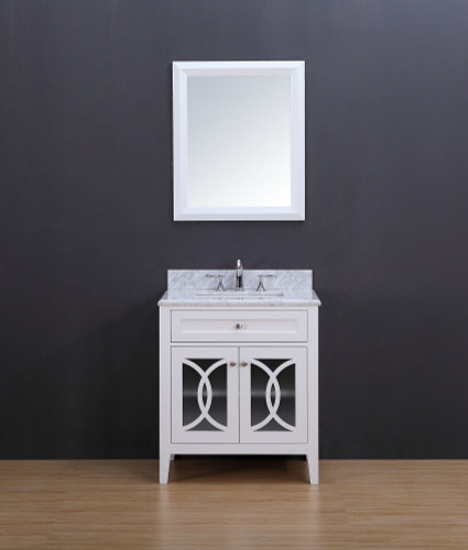 Rocca Transitional Bathroom Vanity Set with Carrera Marble Top White 30""