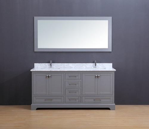 """Cesano Transitional Bathroom Vanity Set with Carrera Marble Top Gray 72"""""""