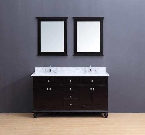 Madison Transitional Bathroom Vanity Set with Carrera Marble Top Espresso 60""