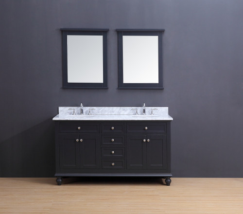 Madison Transitional Bathroom Vanity Set with Carrera Marble Top Charcoal Gray 60""