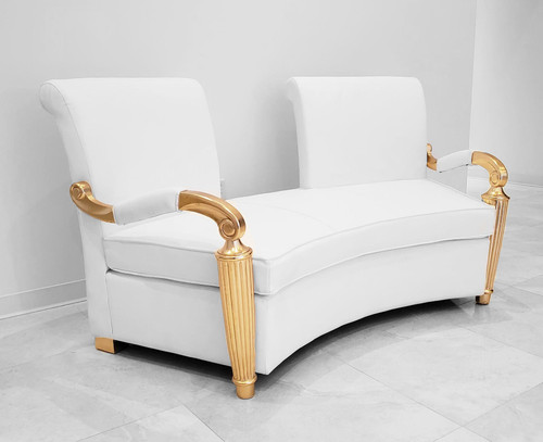 Gaston Two Seater Arm Chair in White Leather and Gold Frame