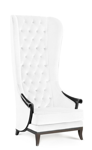High Back Wing Chair  White Velvet Duchess