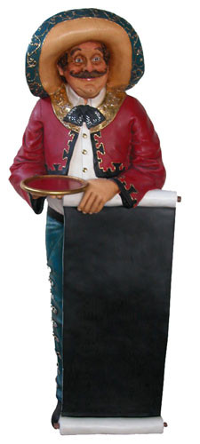 Mexican Statue With Menu Board Life Size