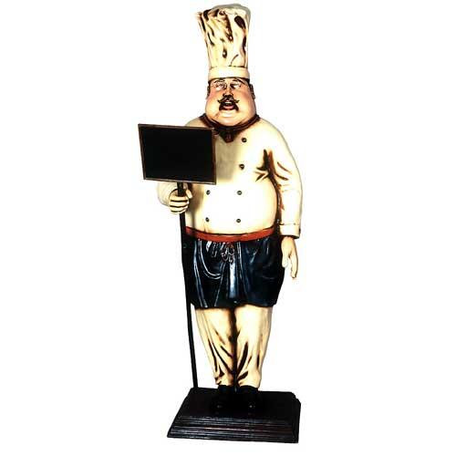 Large Cook Statue Holding Menu 7 FT