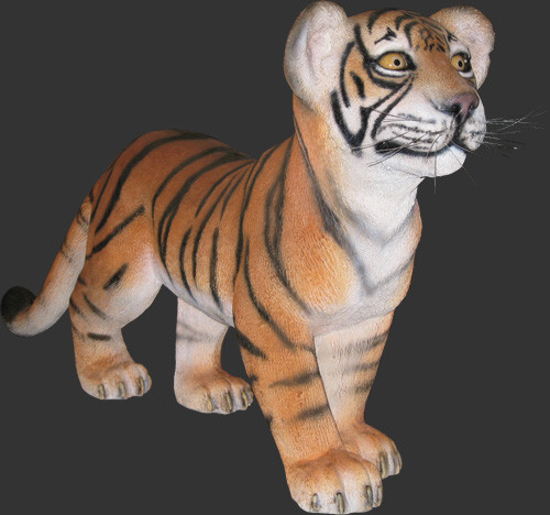 Tiger Cub Standing Life Size Statue
