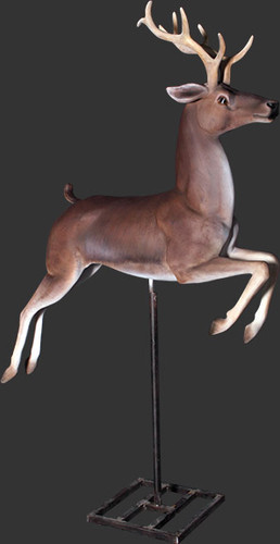 Reindeer Jumping On Stand Life Size Statue