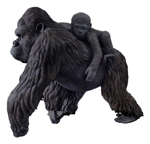 Large Gorilla carrying a baby Statue