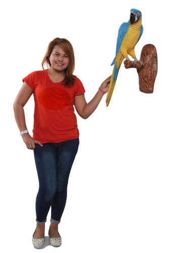 Blue and Yellow Macaw Parrot on Branch Life Size Sculpture Wall Decor
