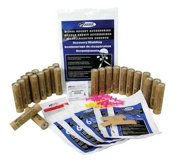 Estes A8-3 engine bulk pack which comes with 24 A8-3 model rocket engines, 30 model rocket starters, 24 reusable starter plugs and 75 sheets of recovery wadding.