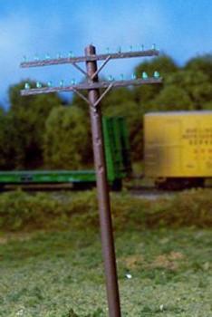 Rix HO railroad telephone poles 2 crossarm kit 628-0032