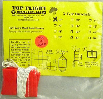"Top Flight Recovery 10"" thin mill X-type nylon parachute XTPAR-10TM"