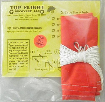 "Top Flight Recovery 30"" thin mill X-type nylon parachute XTPAR-30TM"