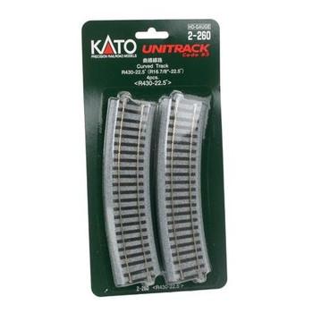 Kato Unitrack HO 16 7/8 inch radius 22.5° curve track 2-260
