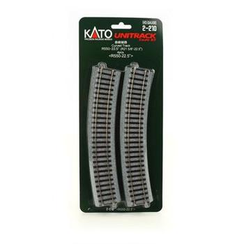 KATO Unitrack HO 21 5/8 inch radius 22.5° curve track (4) 2-210